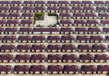 China, Jiangyin, Jiangsu. Rows of identical houses with a playground seen in the middle in the city of Jiangyin