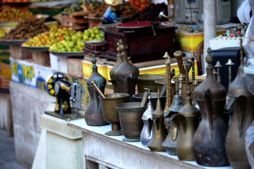 Fruits and antiques on display.